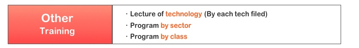 ・Lecture of technology (By each tech filed) ・Program by sector ・Program by class